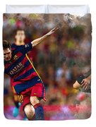 Lionel Messi  Fights For The Ball Duvet Cover