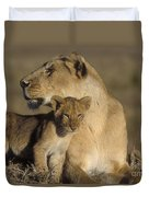 Lioness And Her Cub  Duvet Cover