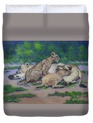 Lioness With Cubs Duvet Cover