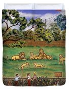 Lions At The Zoo Duvet Cover