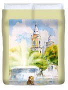 Lions Fountain Plaza Las Delicias  Ponce Cathedral Puerto Rico Duvet Cover