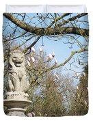 Lions Guarding Garden Duvet Cover