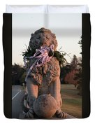 Lions Statue With Ribbon Duvet Cover