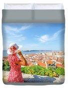 Lisbon Castle Woman Duvet Cover