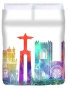 Lisbon Landmarks Watercolor Poster Duvet Cover
