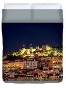 Lisbon Night Background Duvet Cover