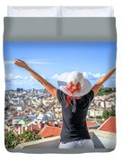 Lisbon Panorama Enjoying Duvet Cover