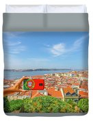 Lisbon Pictures Aerial Duvet Cover