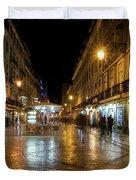 Lisbon Portugal Night Magic - Nighttime Shopping In Baixa Pombalina Duvet Cover