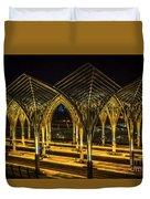 Lisbon Train Station At Night Duvet Cover