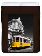 Lisbon's Typical Yellow Tram In Commerce Square Duvet Cover