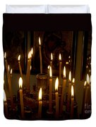 lit Candles in church  Duvet Cover