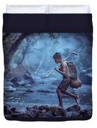 Little Asian Kid Fishing In The River Countryside Thailand. Duvet Cover
