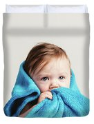 Little Baby Girl Tucked In A Cozy Blue Blanket. Duvet Cover