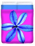 Little Blue Flower On Dark Pink Duvet Cover