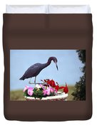Little Blue Heron In Flower Pot Duvet Cover