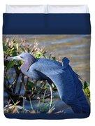 Little Blue Heron Sunbathing Duvet Cover