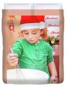 Little Boy Making Christmas Cookies Duvet Cover