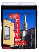 Little City Sign North Beach Duvet Cover