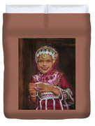 Little Girl In India Duvet Cover
