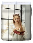 Little Girl Reading Book Duvet Cover