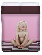 Little Girl Sits On A Checkered Floor Duvet Cover