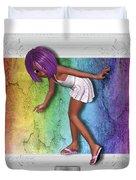 Little Girl Sneaks Out Of Frame Duvet Cover