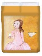 Little Girl With Her Hen Duvet Cover