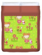 Little Girl With Her Rabbit On A Green Field Duvet Cover
