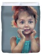 Little Girl With Purse Duvet Cover