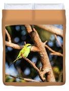 Little Green Bee Eater On A Branch Duvet Cover