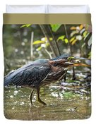 Little Green Heron With Fish Duvet Cover