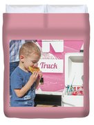 Little Kid With Food Duvet Cover
