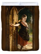 Little Nell Leaving The Church Duvet Cover by James Lobley