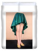 Ameynra Fashion Satin High Low Skirt, Dark-green Duvet Cover
