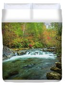 Little Pigeon River Flows In Autumn In The Smoky Mountains Duvet Cover