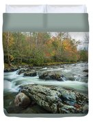 Little Pigeon River In Autumn In Smoky Mountains In Autumn Duvet Cover