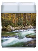 Little Pigeon River In Fall In The Smokies Duvet Cover