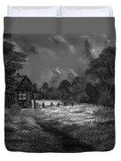 Little Pig's Barn In The Moonlight In Black And White Duvet Cover