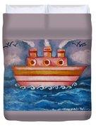 Little Pink Ship Duvet Cover