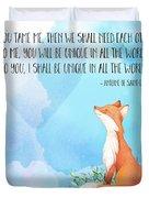 Little Prince Fox Quote, Text Art Duvet Cover