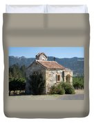 Little Stone Chapel In Vineyards Of Napa Valley Duvet Cover