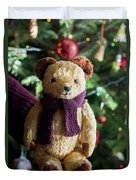Little Sweet Teddy Bear With Knitted Scarf Under The Christmas Tree Duvet Cover