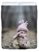 Little Teddy Bear Sitting In Knitted Scarf And Cap In The Winter Forest Between The Rails Duvet Cover