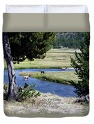 Live Dream Own Yellowstone Park Elk Herd Text Duvet Cover