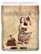 Live Music Pinup Singer Performing On Gig Guide Duvet Cover