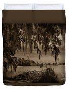 Live Oak Tree Spanigh Moss Sepia Silhouette Duvet Cover