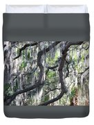 Live Oak With Spanish Moss And Palms Duvet Cover