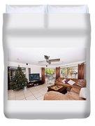 Living Room At Christmas Duvet Cover
