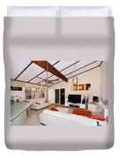 Living Room With Sloping Ceiling Duvet Cover